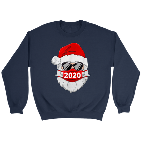 Santa With Face Mask Christmas 2020 Family Pajamas Xmas Gift Shirt