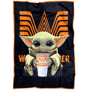 Baby Yoda Hug Whataburger Quilt Fleece Blanket