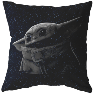 The Mandalorian The Child Black & Grey Portrait Pillow