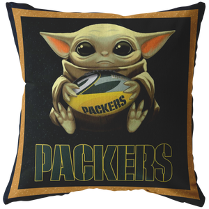 Baby Yoda Hug Green Bay Packers Pillow