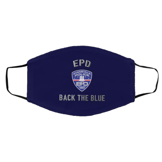 Evansville Police Department back the blue face mask