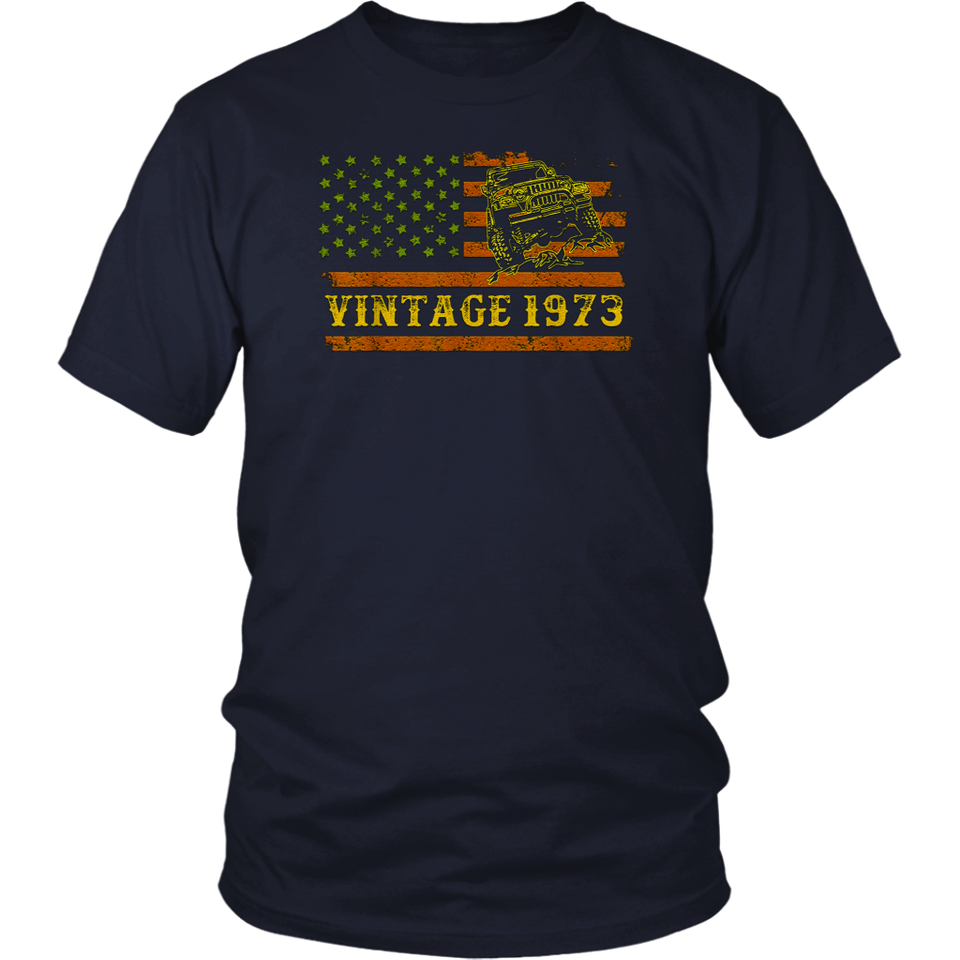 Vintage 1973 Jeeps Birthday Retro USA Jeeps 4th Of July T-Shirt