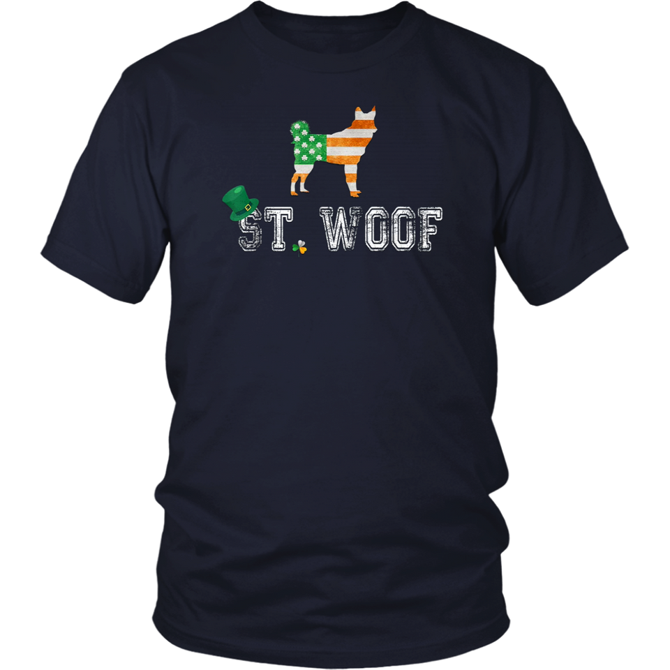 Patrick's Day Vintage Flag American St. Woof Husky Dog T-Shirt