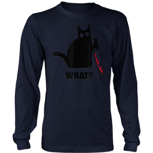 Cat What Black Cat Long Sleeve Shirt, Murderous Cat With Knife Long Sleeve Shirt
