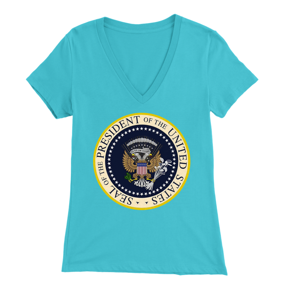 Charles Leazott Sweatshirt Fake Presidential Seal Bella Womens V-Neck