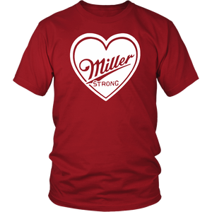 "Local company making ""Miller Strong"" red t-shirts"