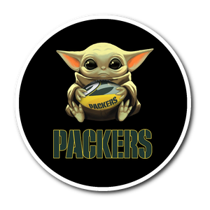 Baby Yoda Hug Green Bay Packers Sticker