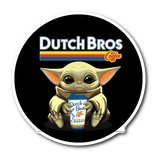 Baby Yoda Drink Dutch Bros Coffee  Sticker