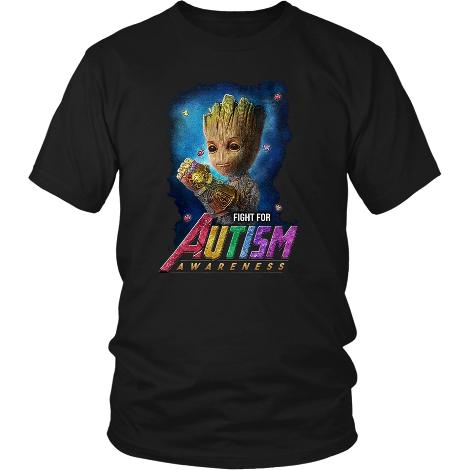 Fight For Autism Awareness Baby Groot - Funny Marvel Avengers I'm Groot Guardians Of The Galaxy Fathor