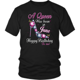 Personalize June Queen Was Born In Happy Birthday To Me Scarpin High Heels Girl Woman Cancer Gemini Gift Shirt May October November December