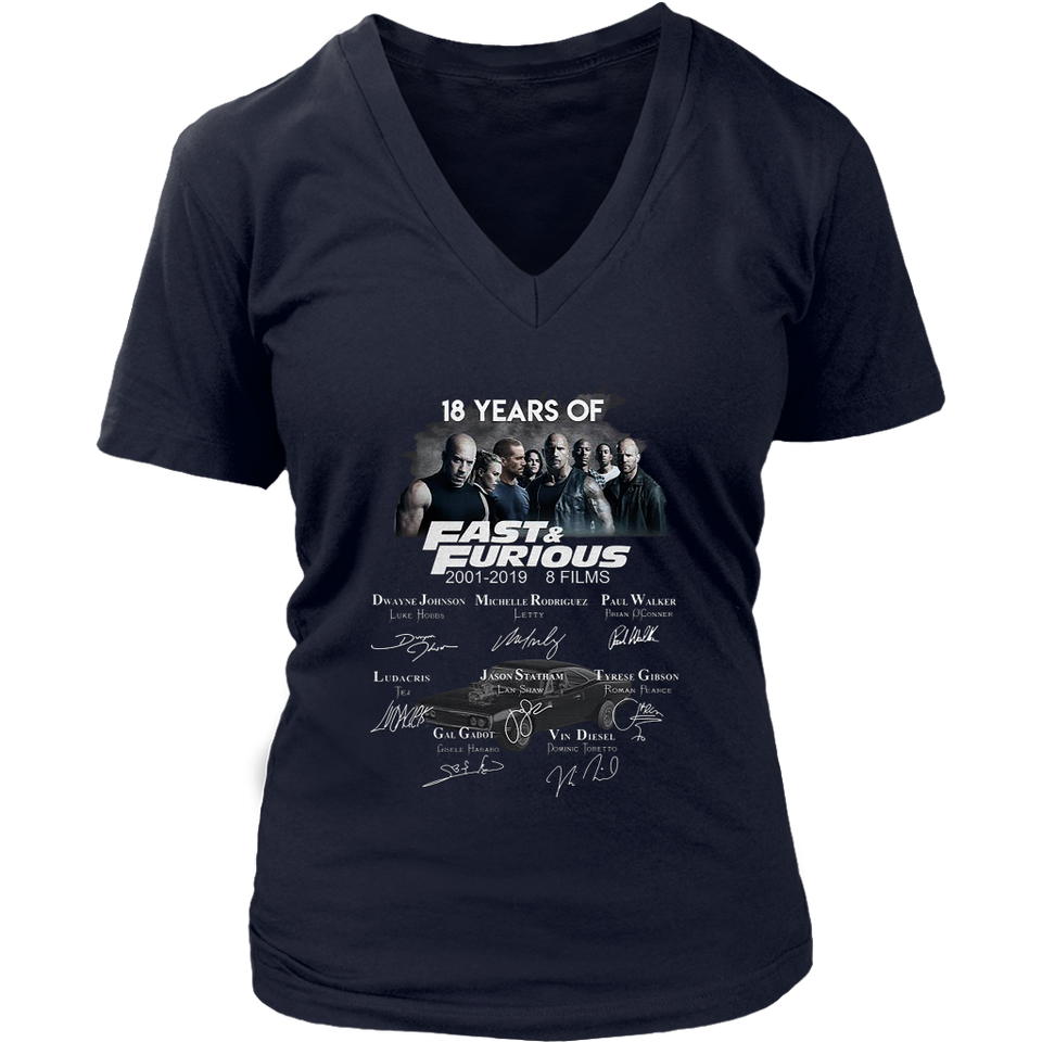 18 years of Fast and Furious 2001 2019 8 films Character Signature T Shirt