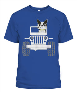 Funny boston terrier dog jeep dad / dog jeep mom t