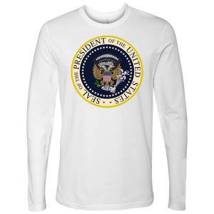 Charles Leazott Next Level Mens Long Sleeve Fake Presidential Seal Next Level Mens Long Sleeve