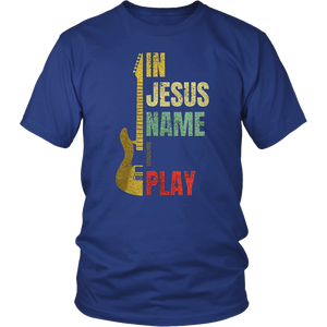Vintage in Jesus name I play guitar shirt