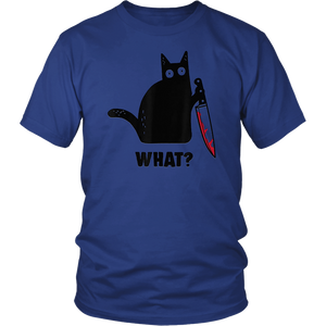 Cat What Black Cat Shirt, Murderous Cat With Knife Unisex Shirt