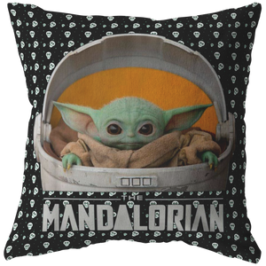 Baby Yoda Pillow Skull and star