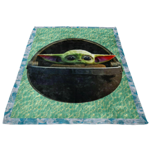 BABY YODA In The Pod Circle Logo Quilt Blanket