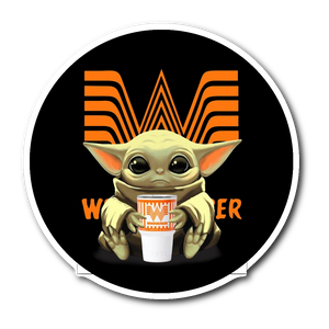 Baby Yoda Hug Whataburger  Sticker
