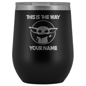 Star Wars Baby Yoda Mandalorian Personalized Wine Tumbler, Yoda Mug, Custom Star Wars, Custom Mugs, Star Wars Gifts, Personalized Mugs