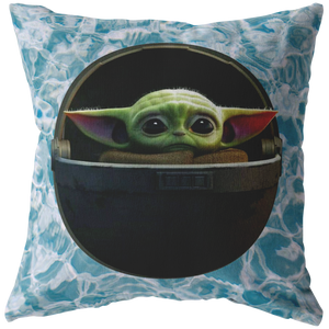 BABY YODA In The Pod Circle Logo Pillow