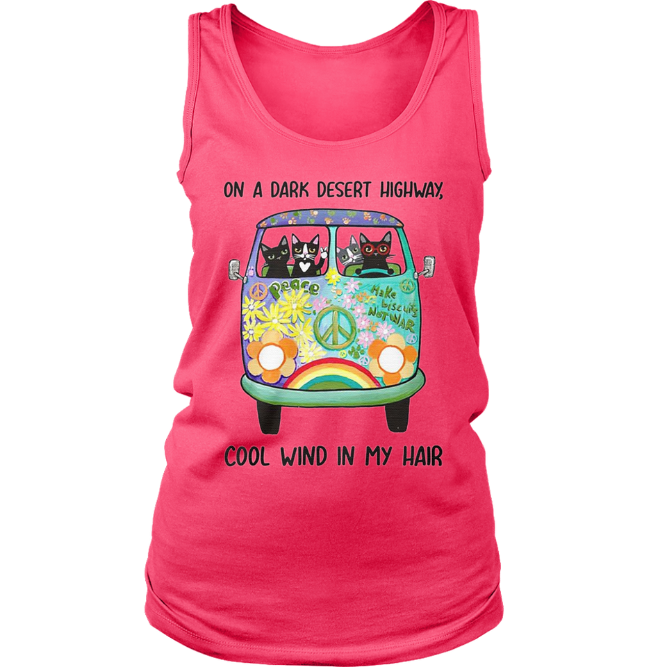Hippie cats on a dark desert highway cool wind in my hair shirt