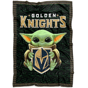 Baby Yoda Hug Golden Knights Quilt Fleece Blanket