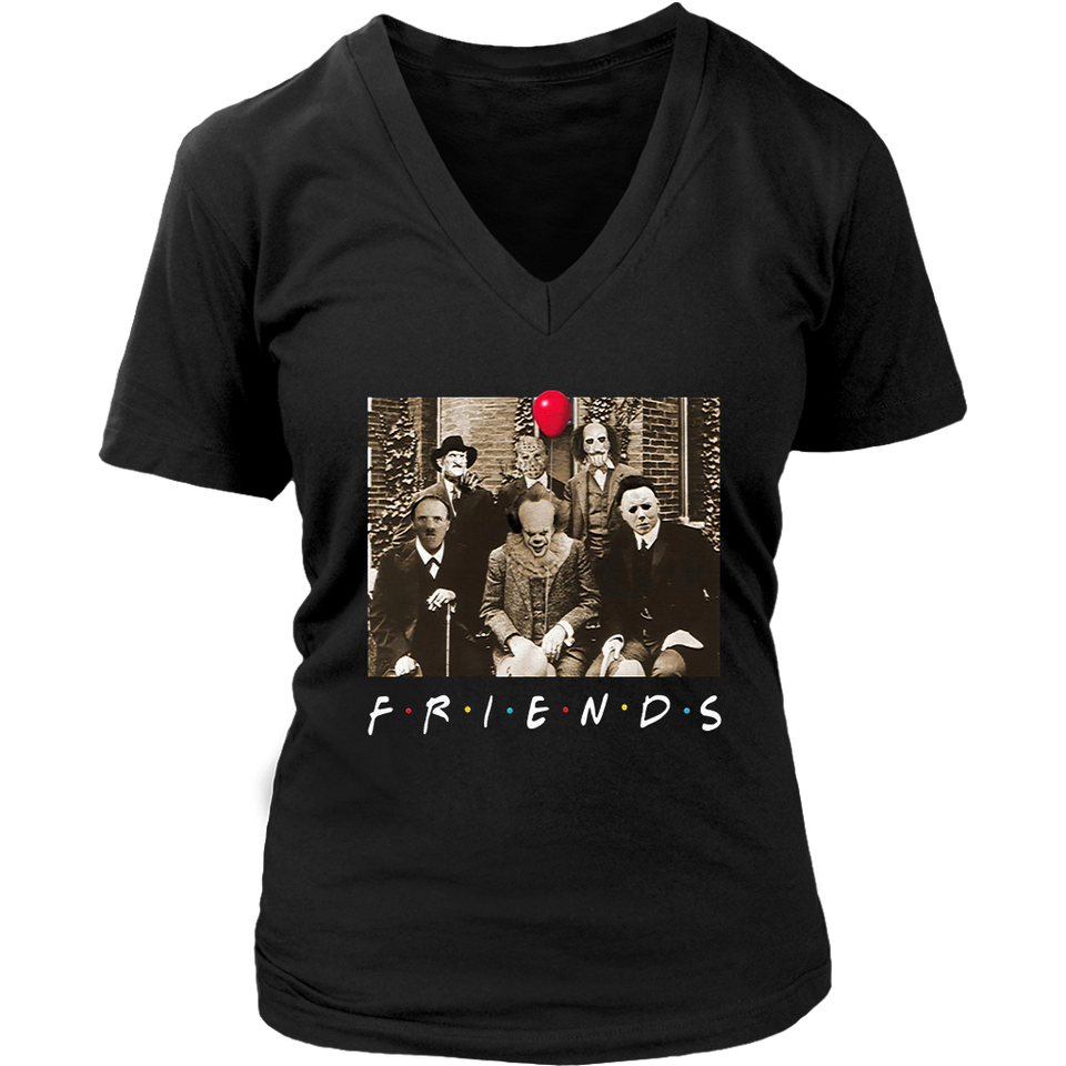 Horror Halloween Team Friends  Womens V-Neck Shirts