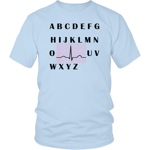 PQRST HEARTBEATS NURSE T-SHIRT ALPHABET PQRST WAVE NURSE T-SHIRT