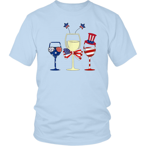 Red White Blue Wine Glasses American Flag 4th Of July Tshirt