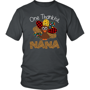 One Thankful Nana Turkey Leopart Thankgivings Shirt