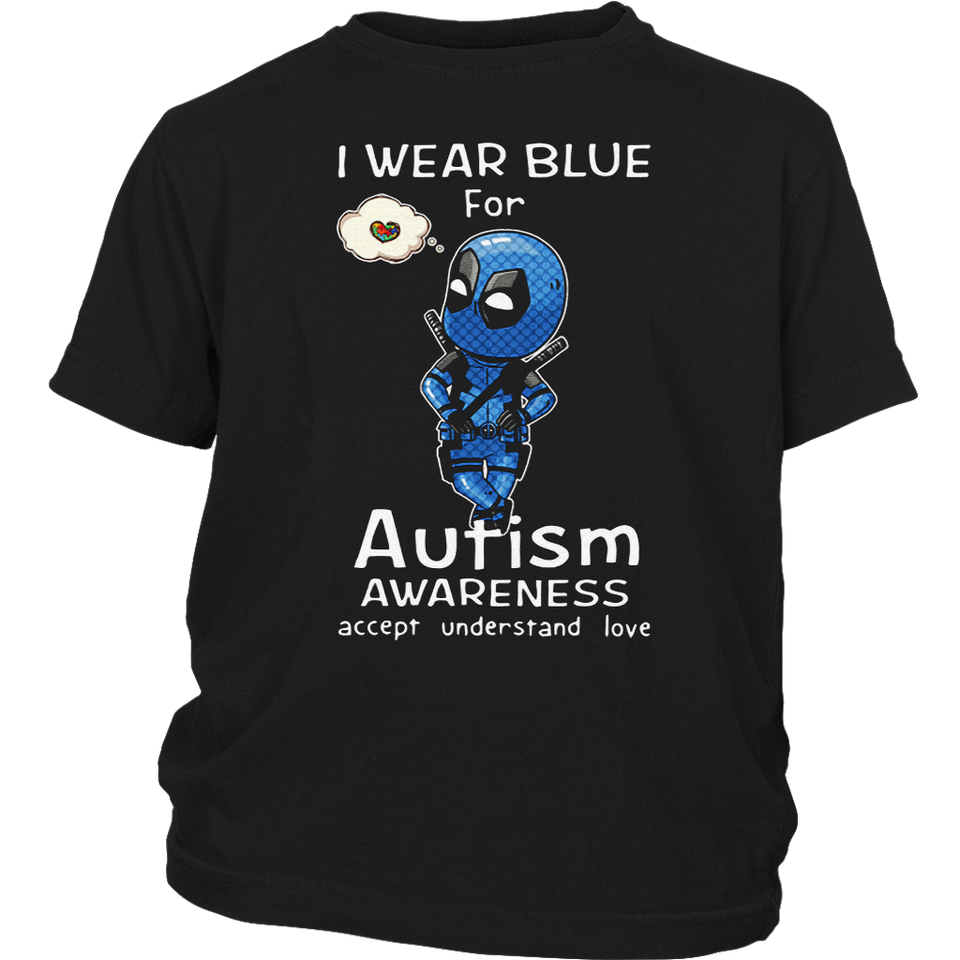 I Wear Blue For Autism Awareness Chibi Marvel Deadpool Shirts