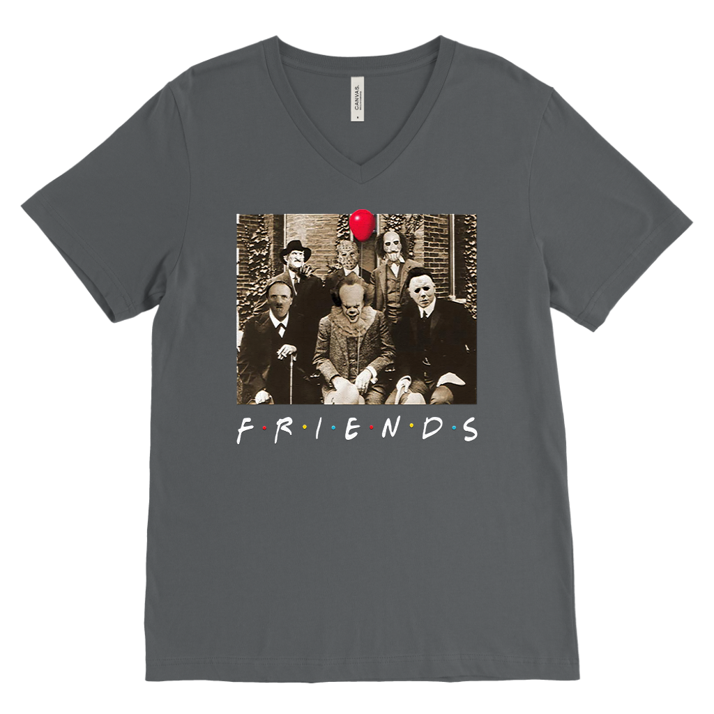 Psychodynamics Horror Characters Friends Canvas Mens V-Neck T-Shirt