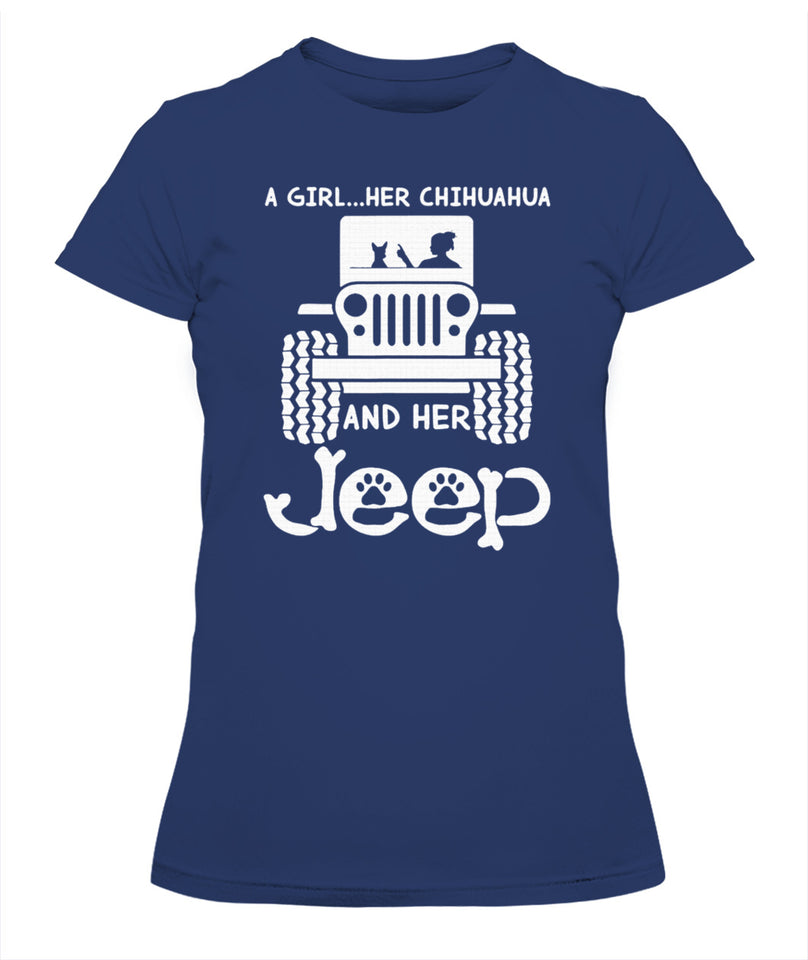 A girl her chihuahua and her jeep dog lover girl t shirt