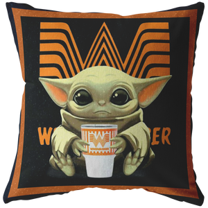 Baby Yoda Hug Whataburger Pillow