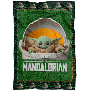 Cute Baby Yoda Fleece Blanket Quilt