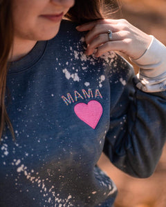 Embroidered Mama Bleached Sweatshirt - This & That Boutique Shop