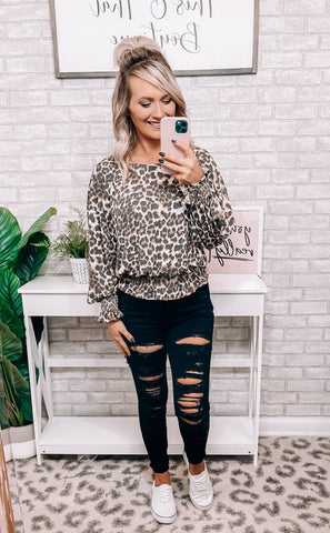 Beige & Leopard Bell Top - This & That Boutique Shop