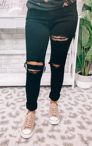 Black Distressed Stretchy Jeans - This & That Boutique Shop