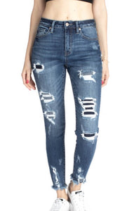 Kancan Distressed Patch Jeans - This & That Boutique Shop