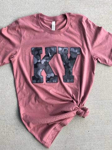 Mauve and Camo KY (ANY STATE) Tee (PRE-ORDER) - This & That Boutique Shop