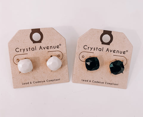 Black & White Stud Earrings - This & That Boutique Shop