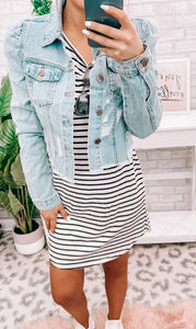 Puffed Sleeve Cropped Distressed Jacket - This & That Boutique Shop