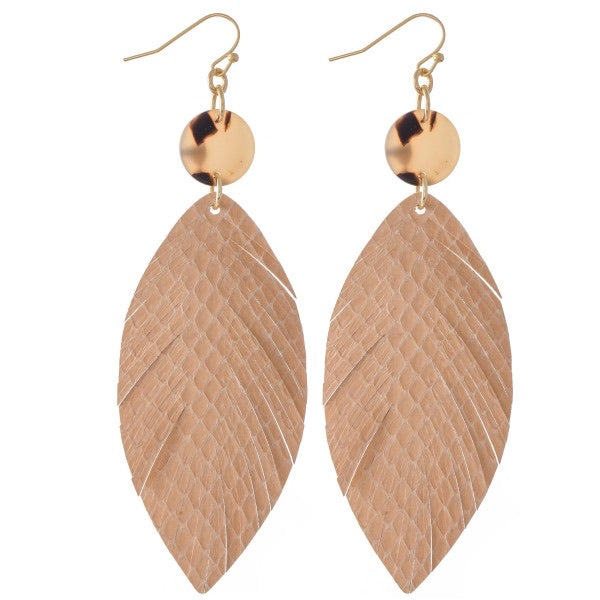 Beige Feather Earrings - This & That Boutique Shop
