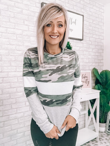 Camo & Ivory Sweater - This & That Boutique Shop