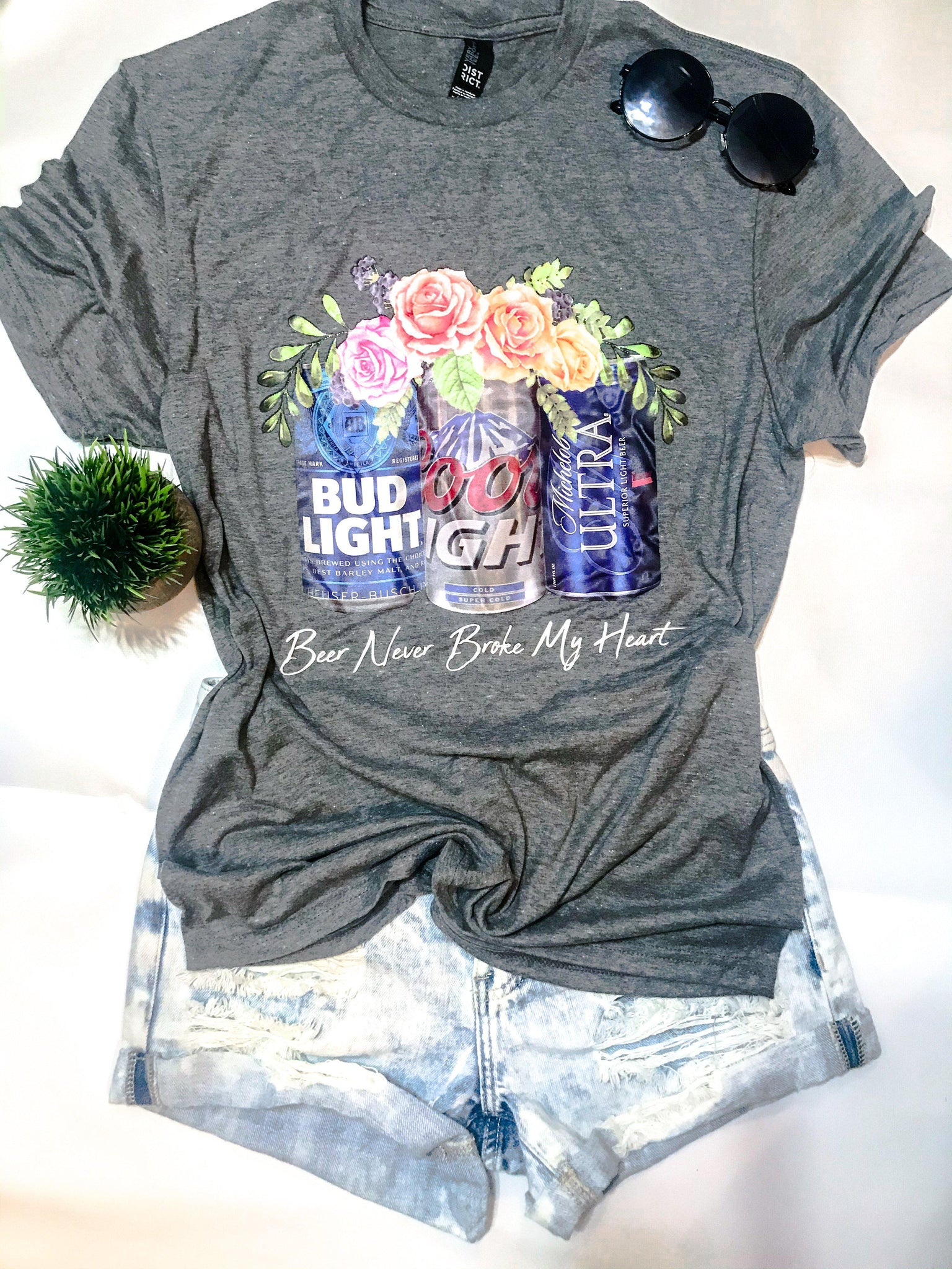 Charcoal Beer Never Broke My Heart Tee (PRE-ORDER) - This & That Boutique Shop