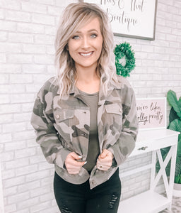 Camo Knit Jacket - This & That Boutique Shop