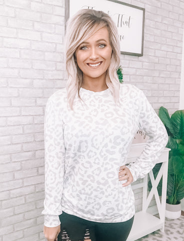 Grey Leopard Light Top - This & That Boutique Shop