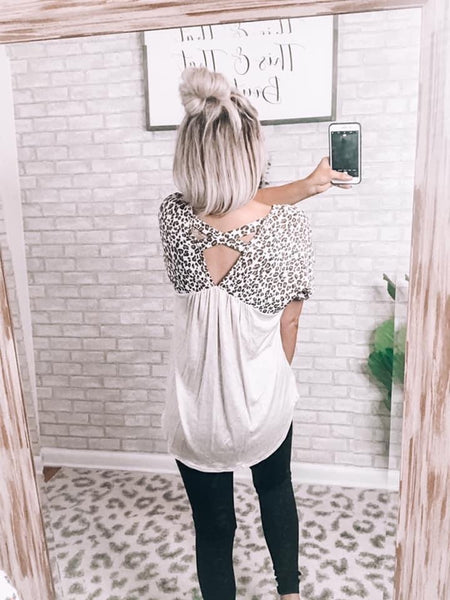 Cross Back Leopard & Beige Top - This & That Boutique Shop