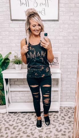 MAMA Leopard Bleached Tank - This & That Boutique Shop