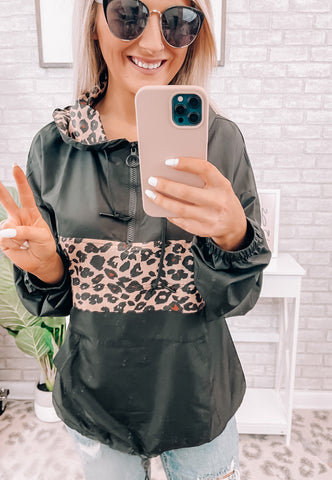 Leopard & Black Hooded Windbreaker - This & That Boutique Shop